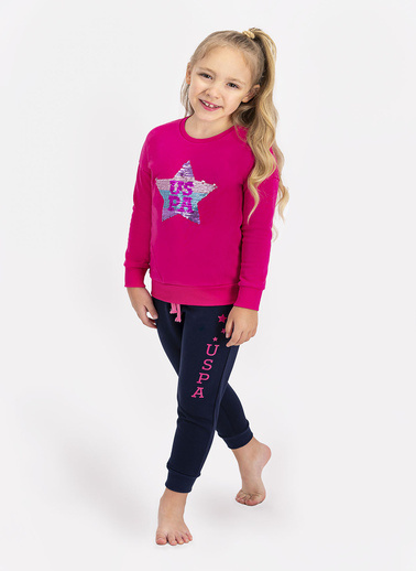 U.S. Polo Assn. Lisanslı Somon Kız Çocuk Eşofman Takımı Fuşya